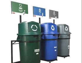 Línea de canecas de reciclaje