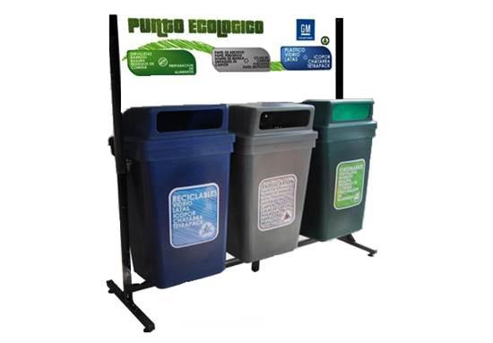 Trío reciclaje con soporte 100 Lts