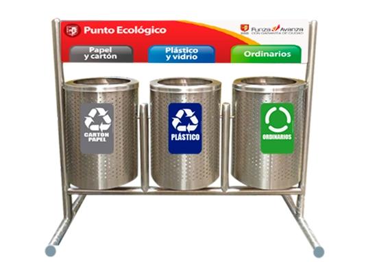 Punto ecológico con canecas Barcelona Trio | CJS Canecas