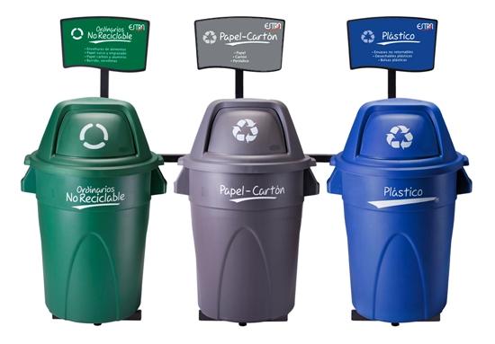 Punto ecológico trío con contenedores Élite 121 Lts